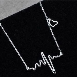 Silver Heart beat rhythm waves necklace